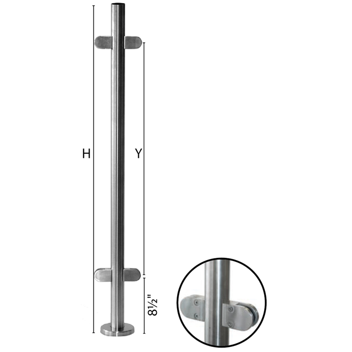 "Stainless Steel Round Newel Post with Glass Clamps for use with 1-2/3"" diameter x 5/64"" Tubing"
