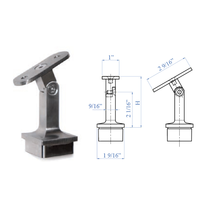 """Stainless Steel Handrail Support 2-61/64"""" high, Pivotable, for Flat or Round Handrail"""