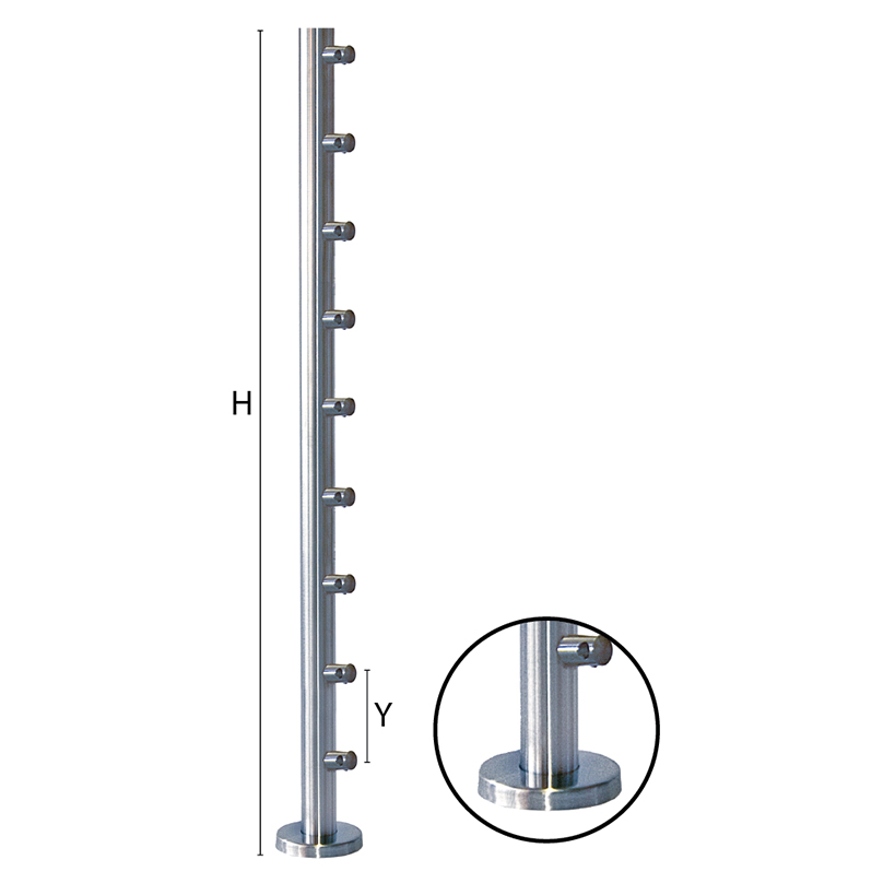 """Stainless Steel Round Newel Posts for 1-2/3"""" diameter x 5/64"""" Tubing"""