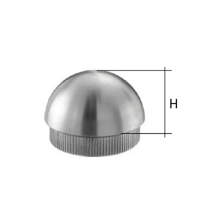 """Semispherical End Cap for 1-2/3"""" dia. Tubing, 303 Satin Stainless Steel"""