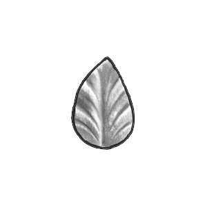 "1-3/4"" Tall Stamped Steel Leaf, 1/16"" Thick"