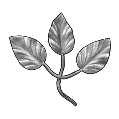 "5-1/2"" Tall Stamped Steel Leaf Bunch, 1/16"" Thick"