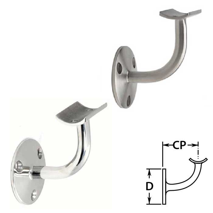 """Handrail Brackets in Stainless Steel for 1-1/2"""" or 2"""" dia. Tubing"""