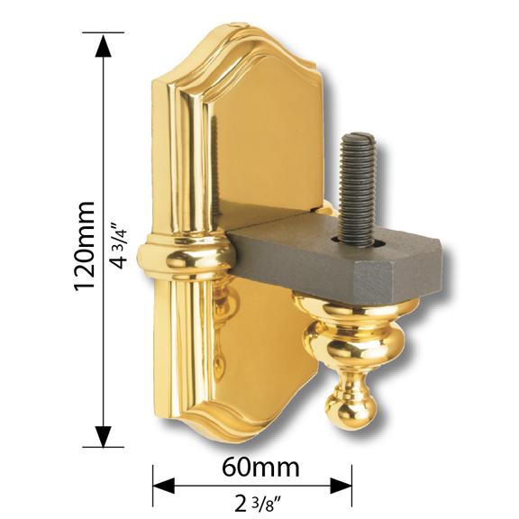 """Steel Side Mount Bracket with Brass Backplate, 4-3/4"""" Tall"""