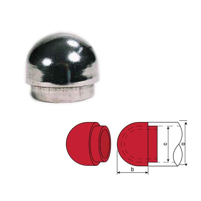 """Steel Drive-On Dome End Caps  for 1-1/4"""" and 1-1/2"""" Schedule 40 Pipe"""