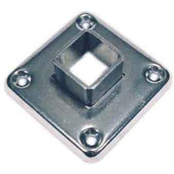 """Plain Steel Socket Flange with Four Countersunk Holes for 1-1/4"""" and 1-1/2"""" quare Tubing"""