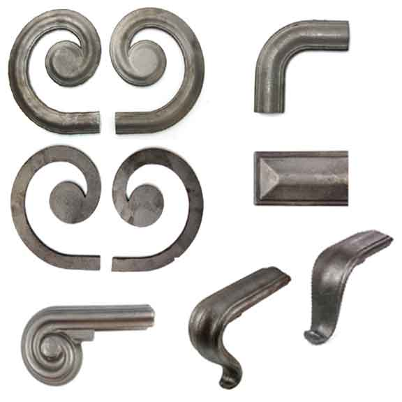 "1-3/4"" wide Steel Lateral Scrolls and Fittings for H1248 Handrail Molding"