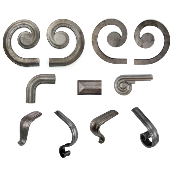 "2-1/4"" wide Steel Lateral Scrolls and Fittings for H1244 Handrail Molding"