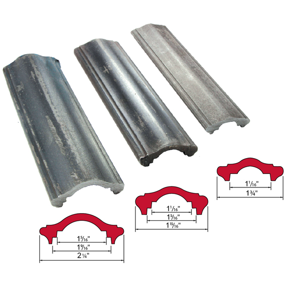 "Hot Rolled Steel Handrail Moldings in 1-3/4"", 1-15/16"" and 2-1/4"" wide"