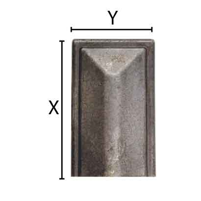 """1-15/16"""" wide Steel Square Terminal End, use with Handrail H1252"""