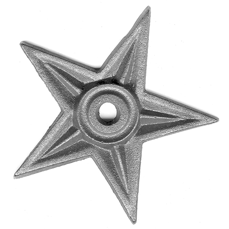 """4-1/2"""" dia. Steel Star Shaped Rosette, Single Faced, 5/16"""" Thick"""