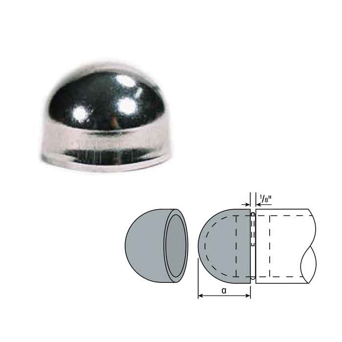 """Steel Weld-On Dome End Caps  for 1-1/4"""" and 1-1/2"""" Schedule 40 Pipe"""