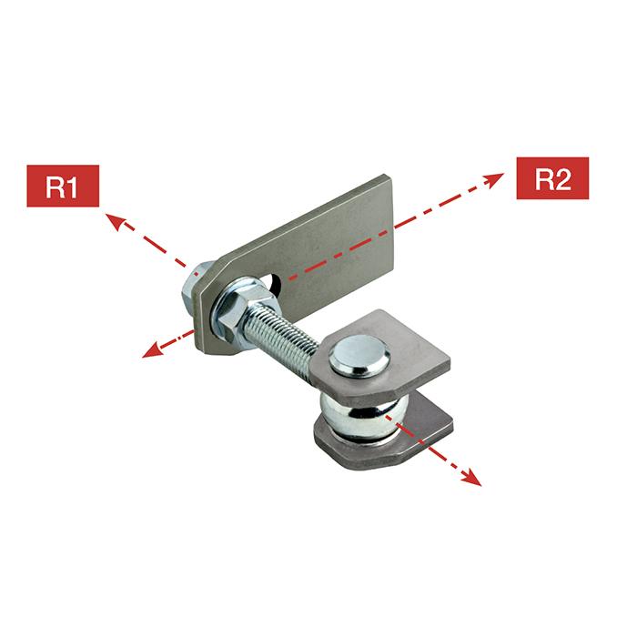 Steel 180 degree Hinge w/Wings, weldable Backplate & Adjustable Nut, 440 lbs. per pair, Galvanized, Sold Individually