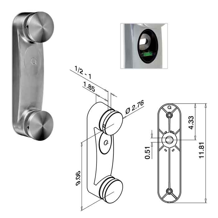"""2-3/4"""" dia. Glass Adapter, 11-13/16"""" Tall, 304 Satin Stainless Steel"""