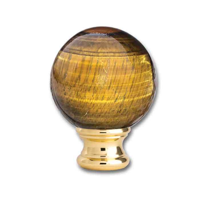"""Tiger Eye Ball Post Top, Brass base of 2-1/8"""" dia., from Grande Forge"""