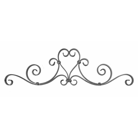 """3/4"""" x 1/4"""" Forged Steel Heart/Scroll Top Gate Panel"""