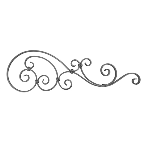 """3/4"""" x 1/4"""" Forged Steel Top Gate Scroll Panel, 29-1/2"""" Wide"""