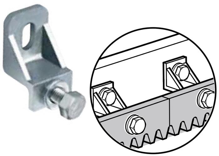 Gear Rack Connector, Bolt On, Galvanized