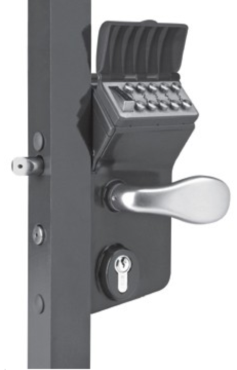 "Free Exit Option Vinci Mechanical Code Lock for Swing Gates, Black, Fits: 1-1/2"" - 2"" Tube"