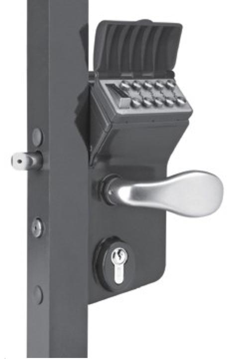 Free Exit Option Vinci Mechanical Code Lock for Swing Gates, Black, Fits: 2-1/2'' -3'' Tube