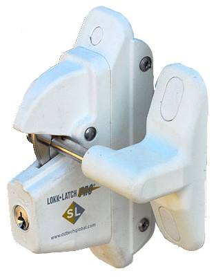 Lokk-Latch PRO SL Self-Locking Gate Latch for Metal or Wood Gates, White