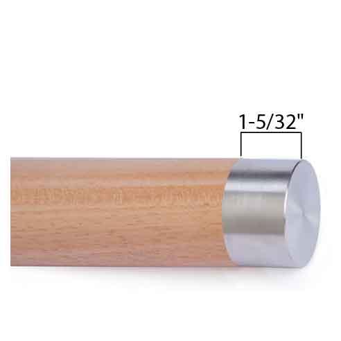 "Woodinox Flat End Cap, 1-5/32"" Tall, 304 Satin Stainless Steel"