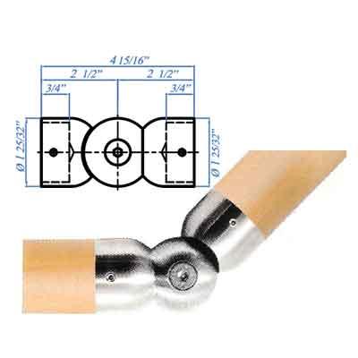 Woodinox Pivotable Handrail Connector, 303 Satin Stainless Steel