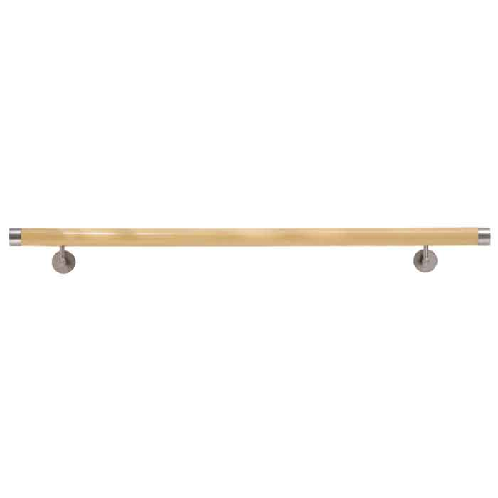 "Woodinox Pre-assembled Beech Wood Handrail, 78-3/4"" Long, 304 Satin Stainless Steel Fittings"