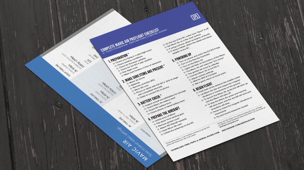 Mavic Air Cheat Sheets | Preflight Checklist & Cinematic Slow Motion Camera Settings Banner Image