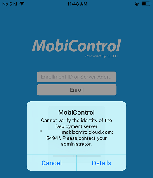 MobiControl agent fails to verify the identity of and connect to