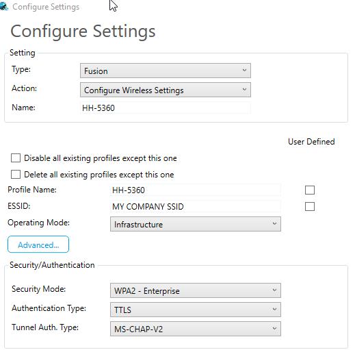 Setting a Fusion Wireless Profile via Barcodes, Windows CE
