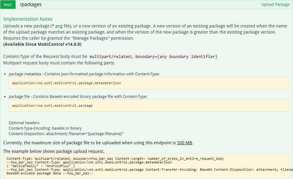 Uploading Packages via API