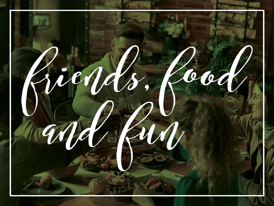 Client appreciation friends food fun event graphic