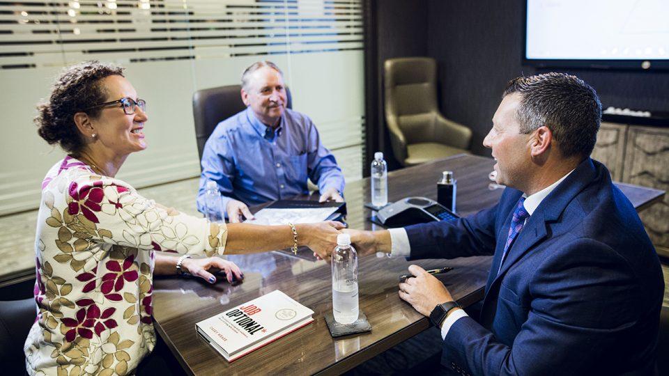 Complimentary consultation handshake