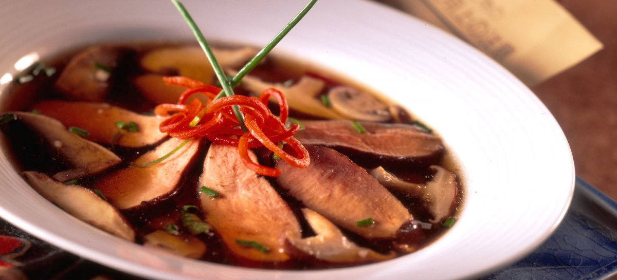 Asian infused duck mushroom soup
