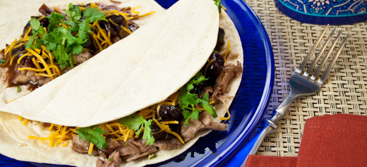 Braised duck tacos with summer cherry bbq sauce