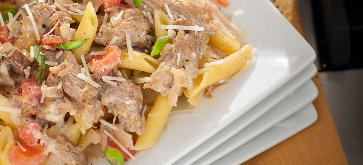 Creamy ale pasta with roast duck