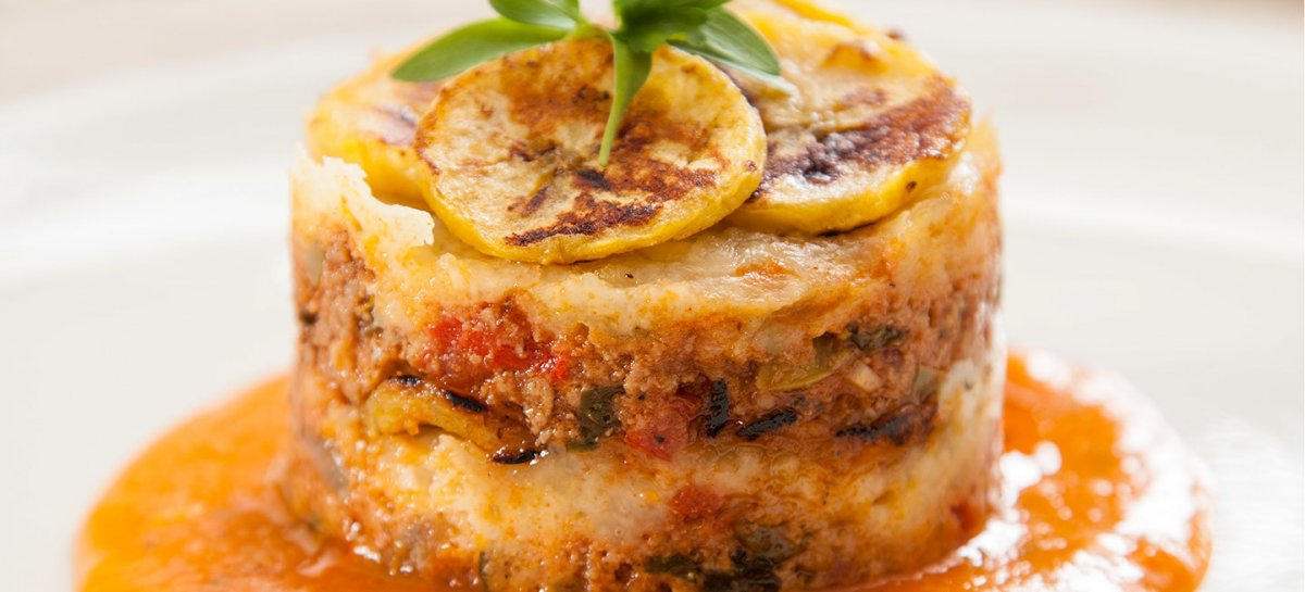Duck and sweet plantain lasagna pastelon