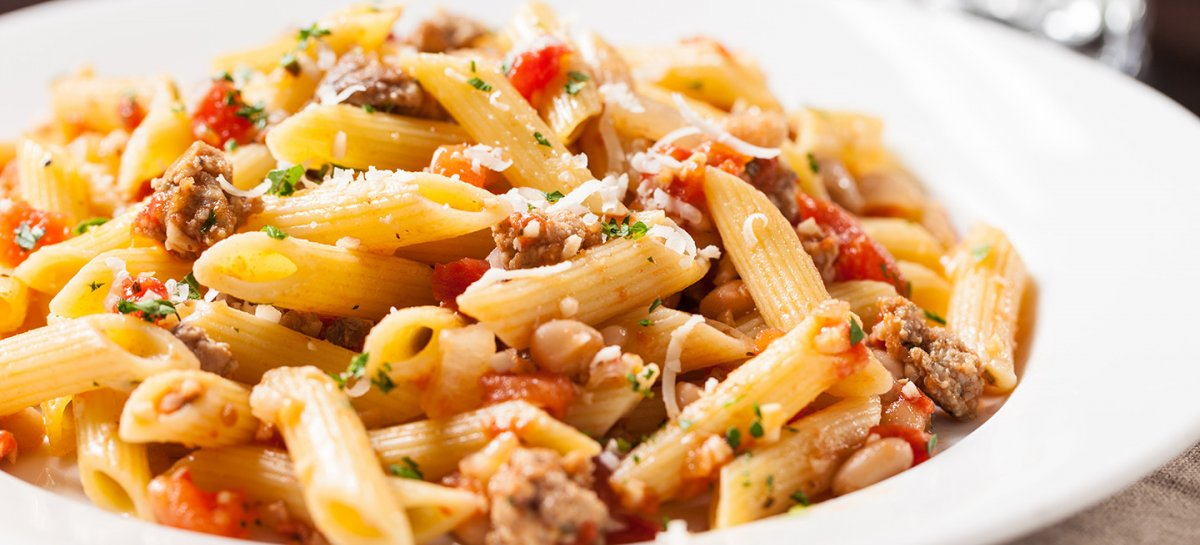 Duck and white bean penne