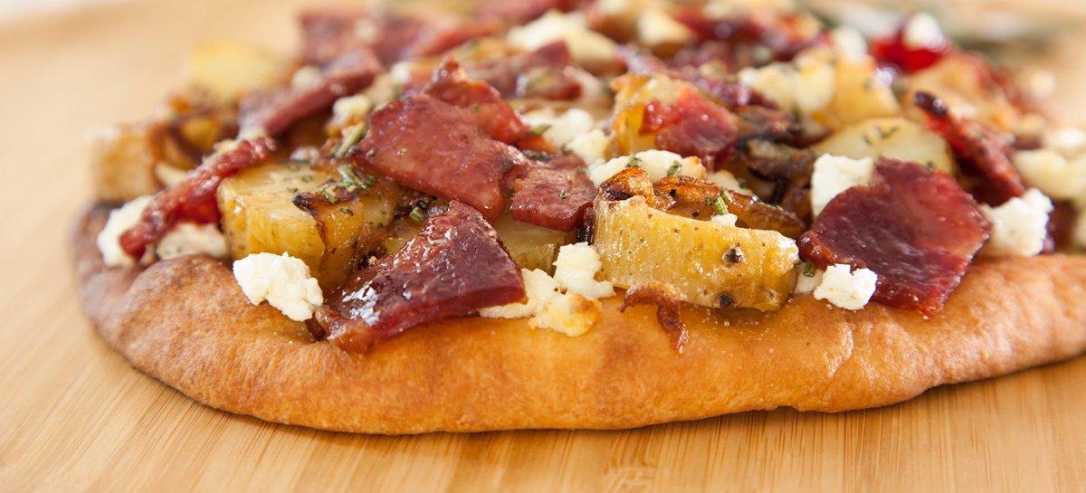 Duck bacon flatbread