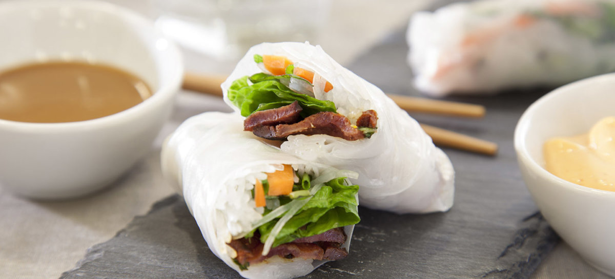 Duck bacon springrolls with dipping sauce
