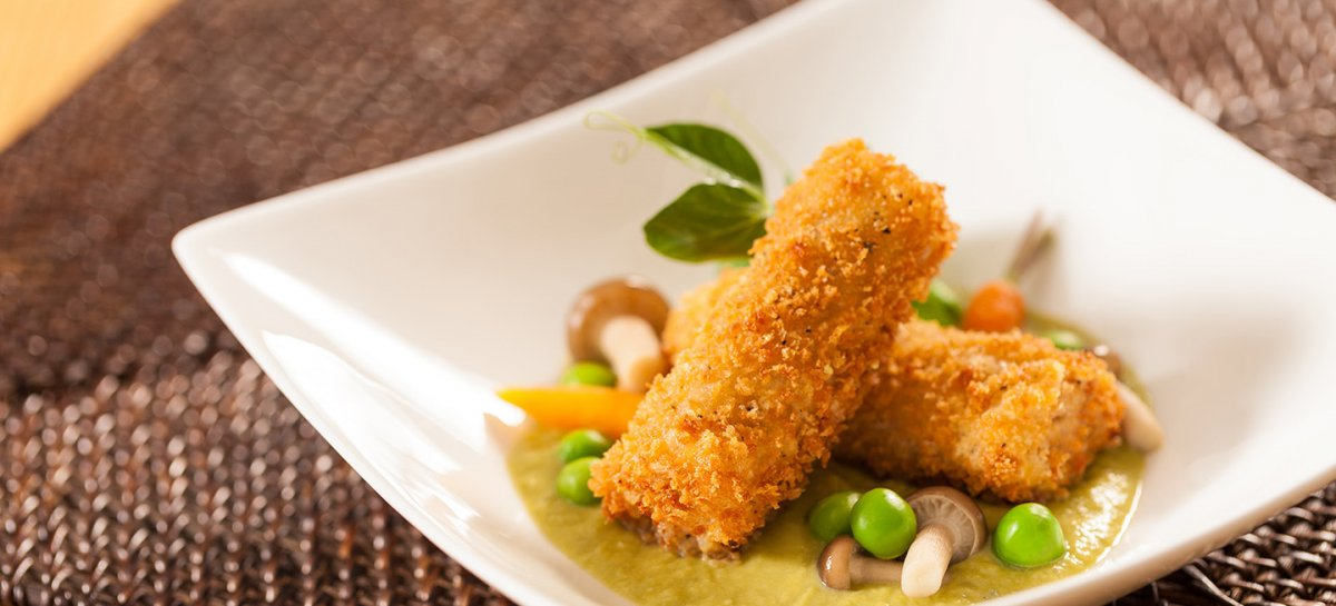 Duck croquettes and sweet pea puree