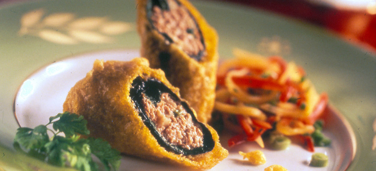 Duck hash and nori roll tempura