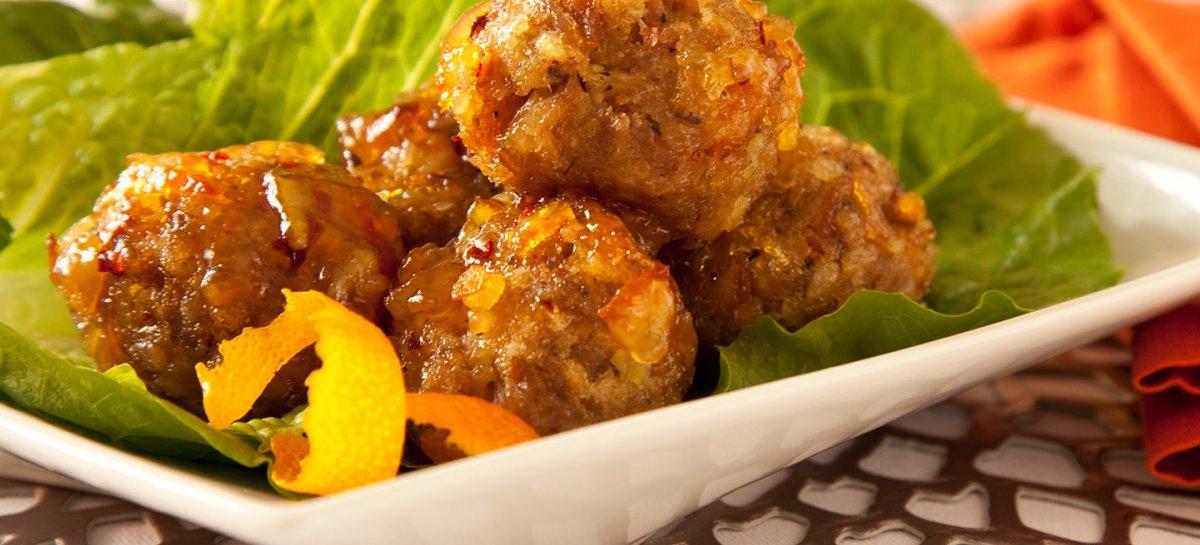 Duck leg confit meatballs in grand marnier sauce