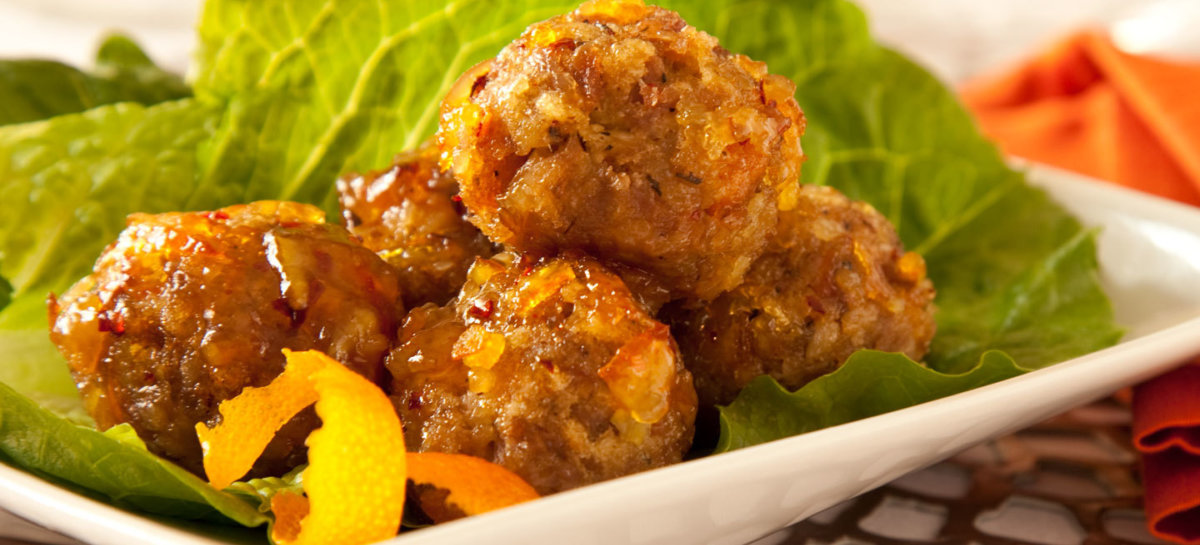 Duck meatballs in orange sauce