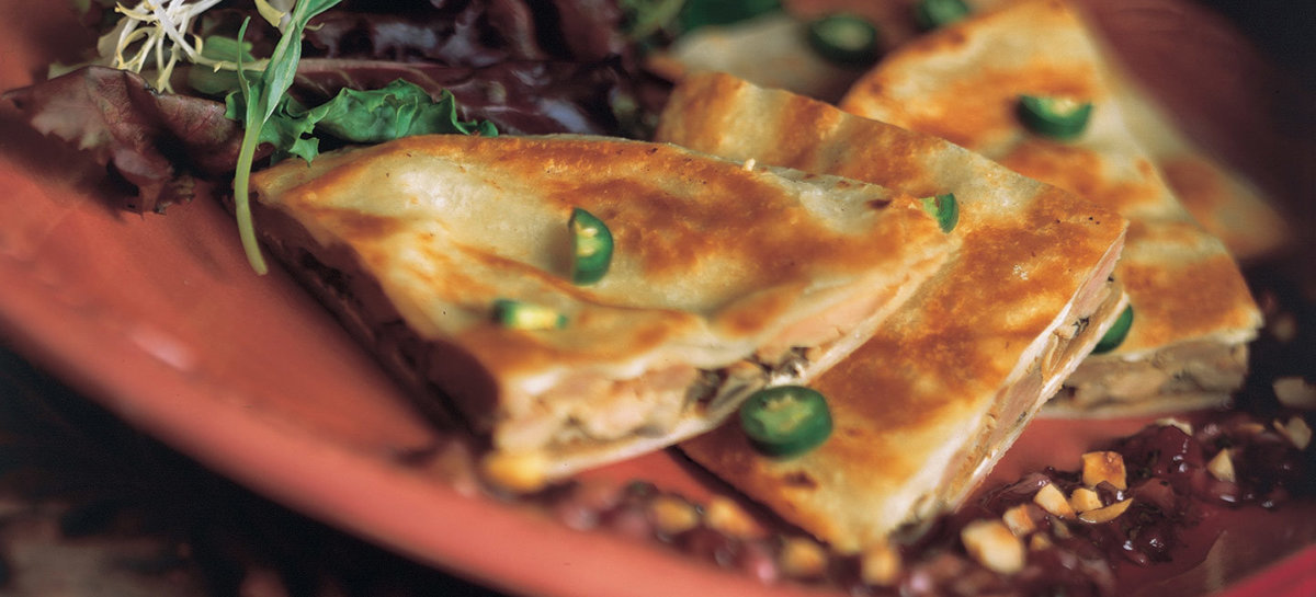 Duck mushroom and goat cheese quesadilla with lingonberry salsa