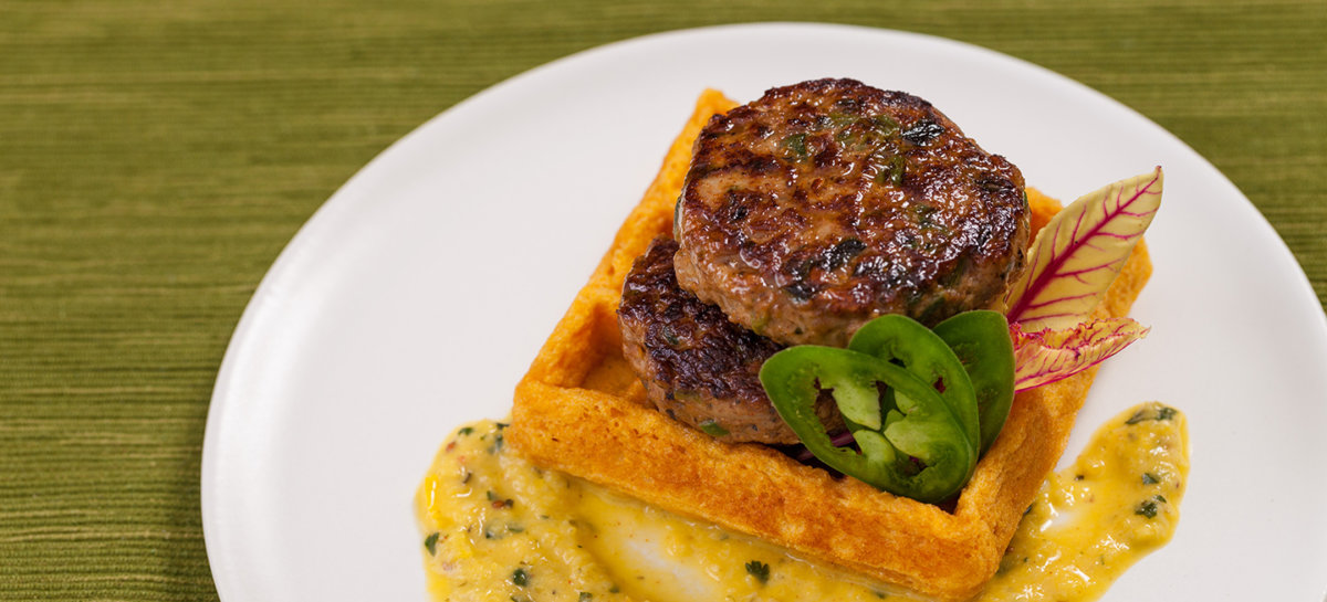 Duck poblano jalapeno chili sausage on sweet potato waffles