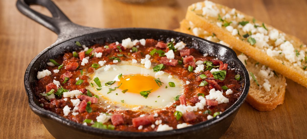 Duck shakshuka with duck sausage and duck fat toast