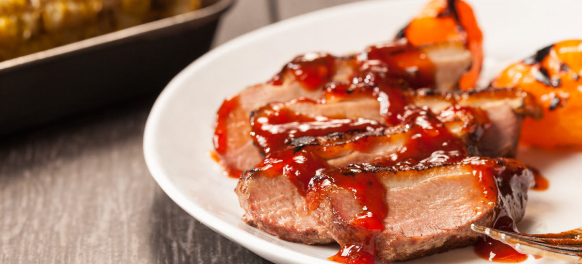 Grilled duck breast with bbq sauce