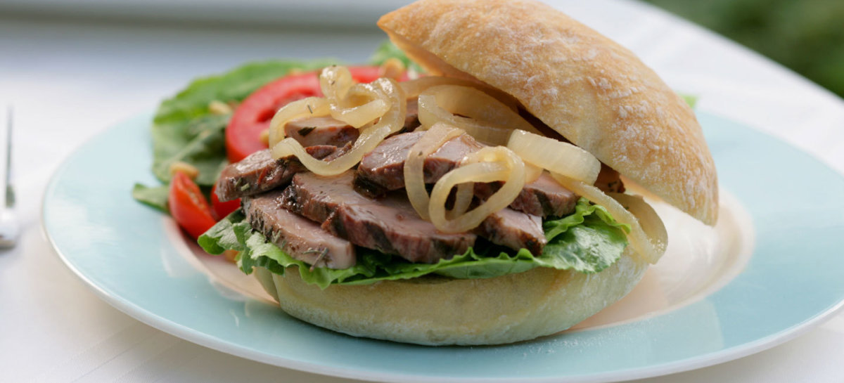 Grilled rosemary duck breast sandwich with onion marmalade
